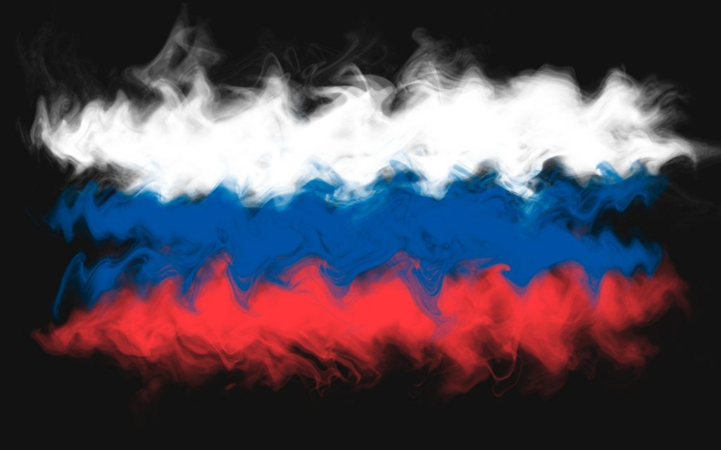 russia flag misty