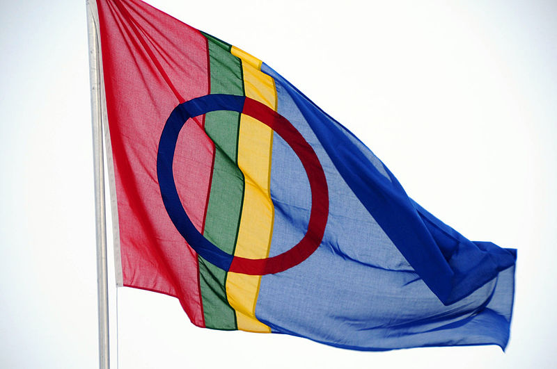 This image has an empty alt attribute; its file name is 800px-Saami_flag_Tromsø_Norway.jpg
