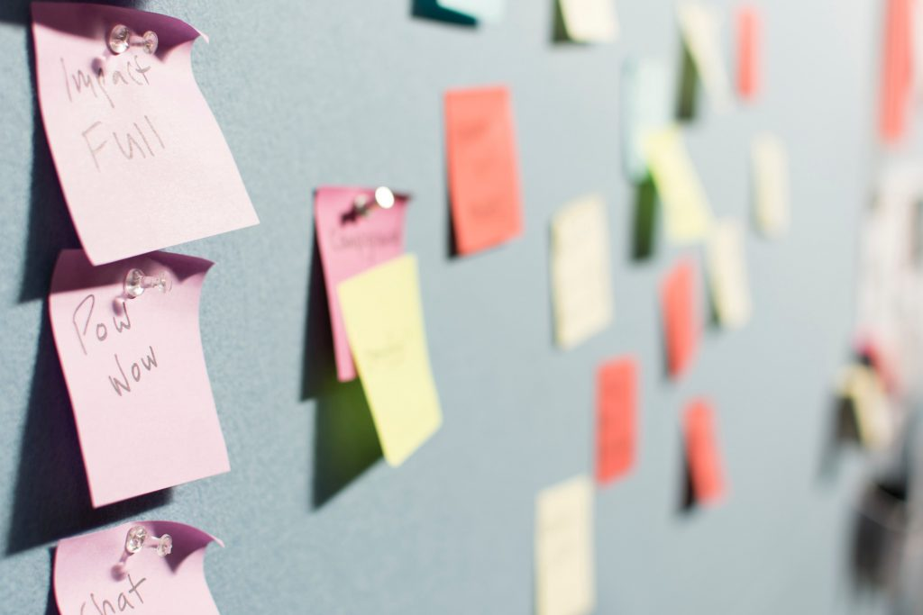 post-it notes on white board