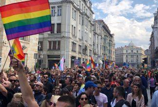 Sarajevo Pride with flag