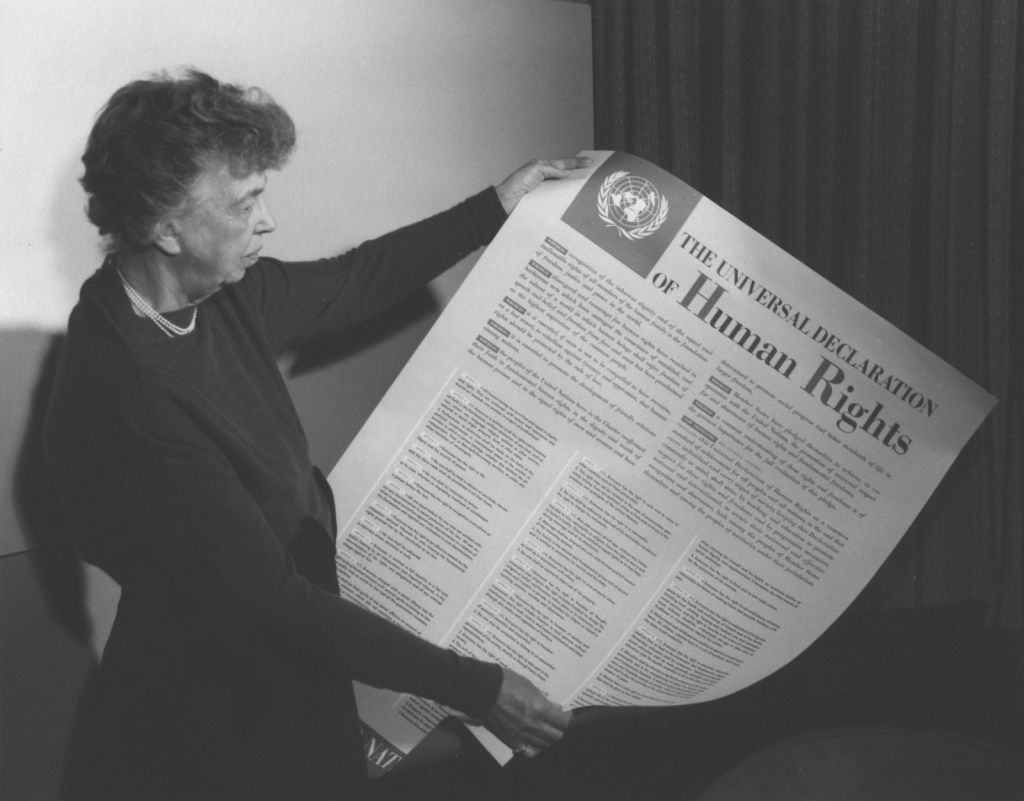 Eleanor Roosevelt and United Nations Universal Declaration of Human Rights, Lake Success, New York, November 1949. (National Archives Identifier 6120927)