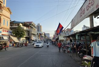 Cambodian flag on street