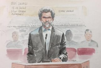 skiss från rättegång mot osman kavala