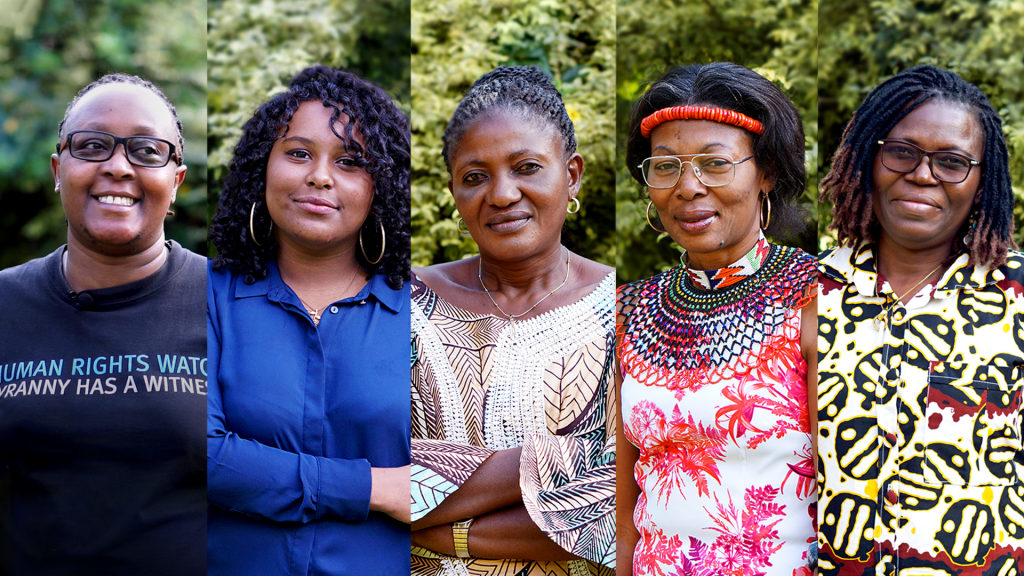 Collage of five women human rights defenders