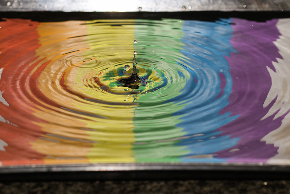 Rainbow colours in water